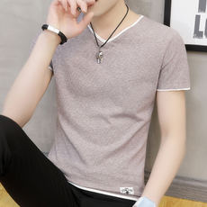 Summer men's short-sleeved t-shirt v-neck half-sleeved youth compassion trend clothes men's clothing shirt solid color bottoming shirt