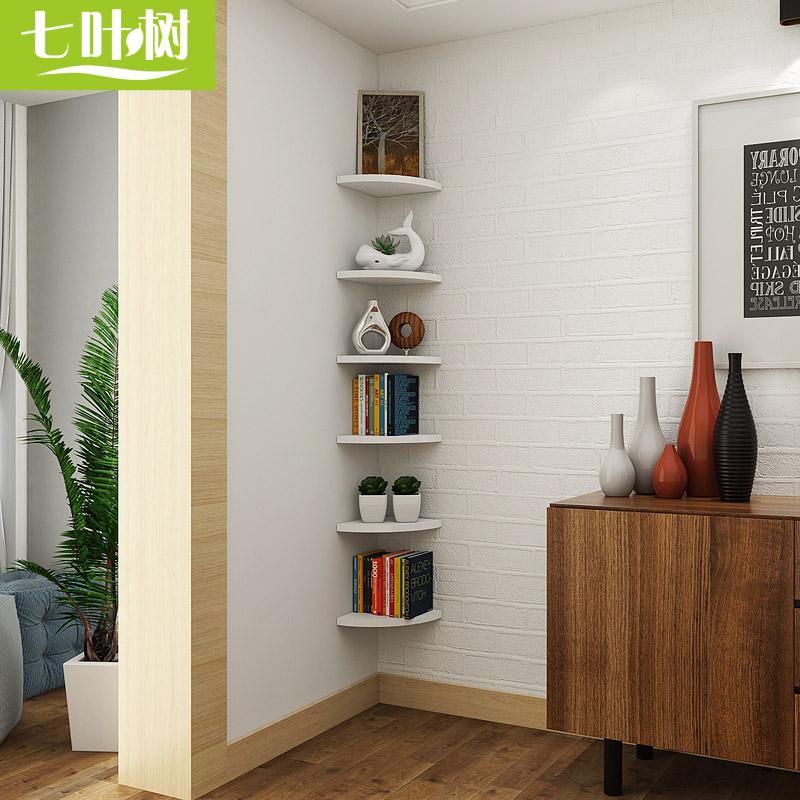 USD 29.17] Corner shelf wall perforated triangular bracket Wall fan ...