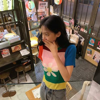 张大奕2020年新款女夏短袖T恤女圆领拼接宽松时尚针织上衣