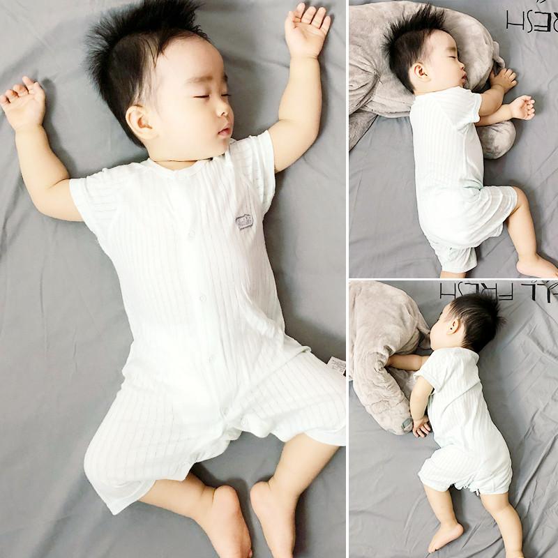 连体男宝宝夏装衣服女婴儿夏季0-1岁短袖爬服薄2二3三4四5五6个月