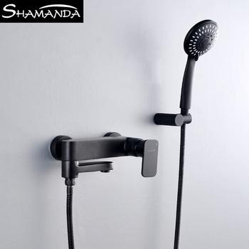Легко горячая и холодная черная вода цвет ванны цилиндр кран цилиндр край стиль матовый золотой лифтинг поляк фонтанчик клапан душ комплект для душа, цена 5236 руб