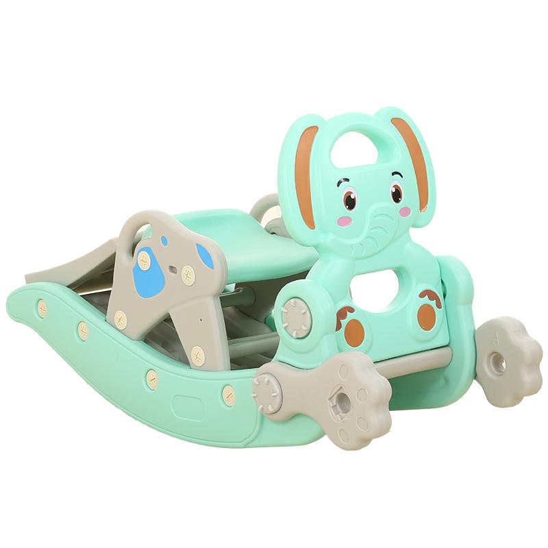 抖音同款:大象造型儿童木马摇椅滑梯二合一