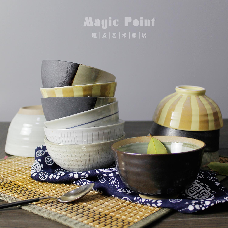 Cá tính sáng tạo Phong cách Nhật Bản và phong cách nhà hàng gốm sứ retro vẽ tay bộ đồ ăn bát cơm nhỏ bát súp bát súp bát salad