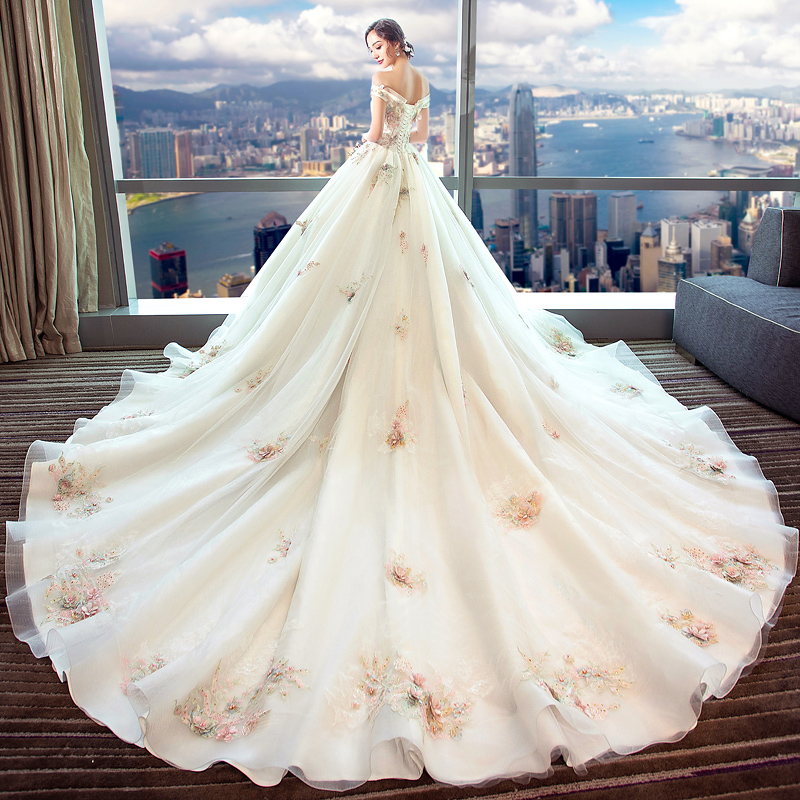 a48705b2c6 Wedding dress 2019 new bride married pregnant woman female princess dream  palace word shoulder trailing large size was thin - BuyChinaFrom.com - Buy  China ...