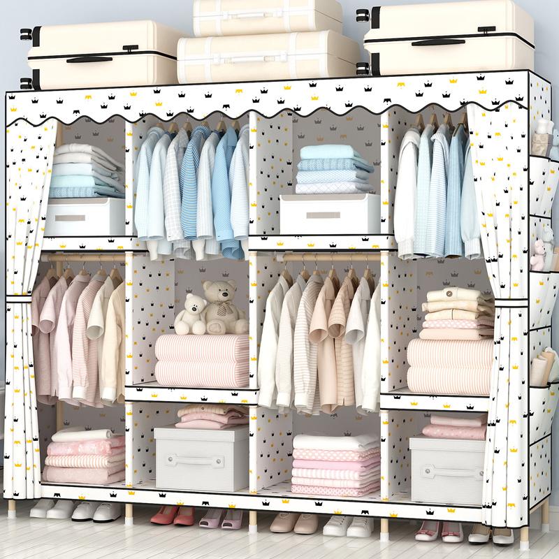 衣柜简易布衣柜实木组装布艺简约现代经济型衣橱加固加粗加厚大号