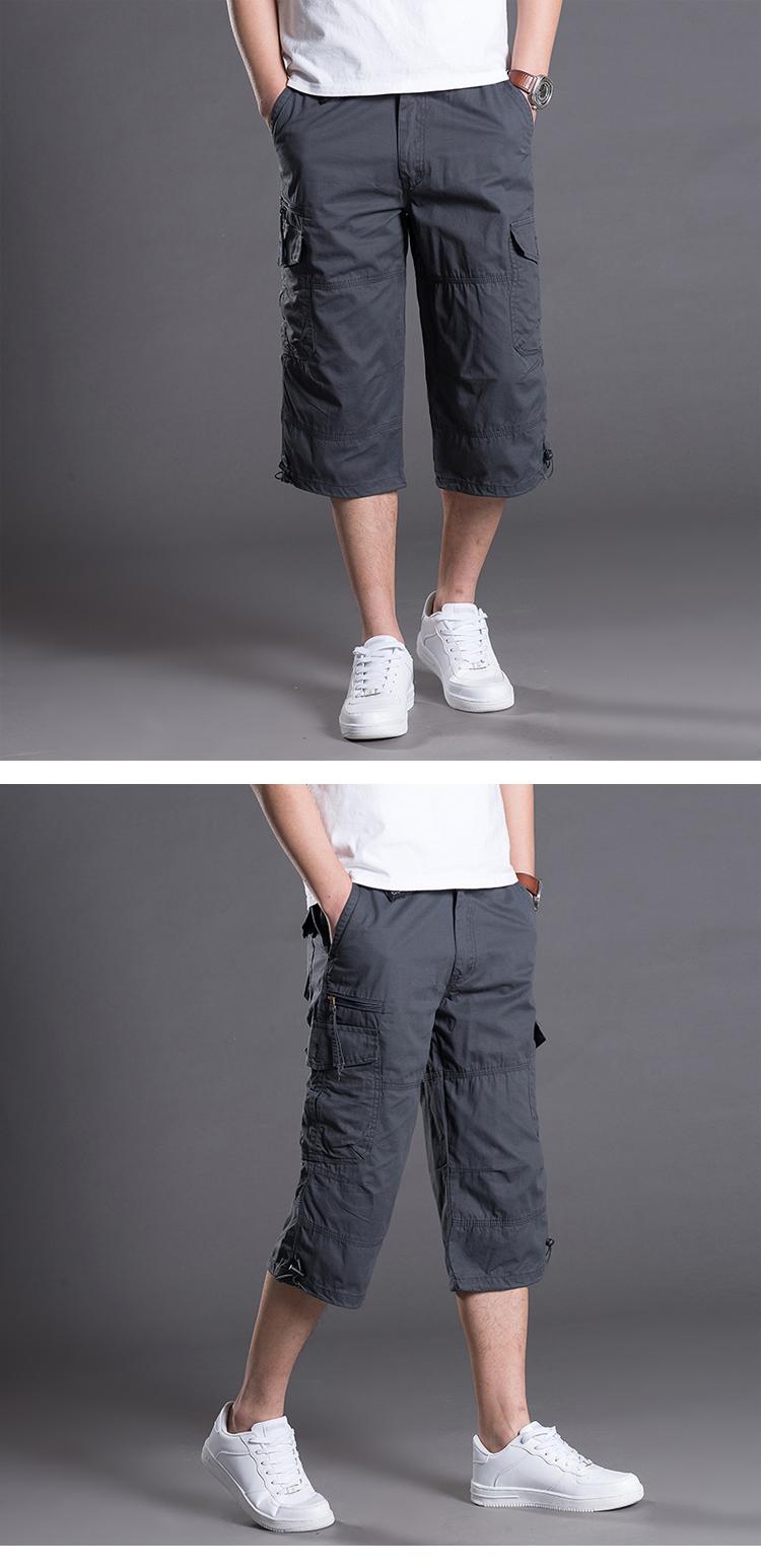Quần short nam mùa hè cắt quần kích thước lớn lỏng đa túi thể thao dụng cụ quần phần mỏng mùa hè thường 7 quần