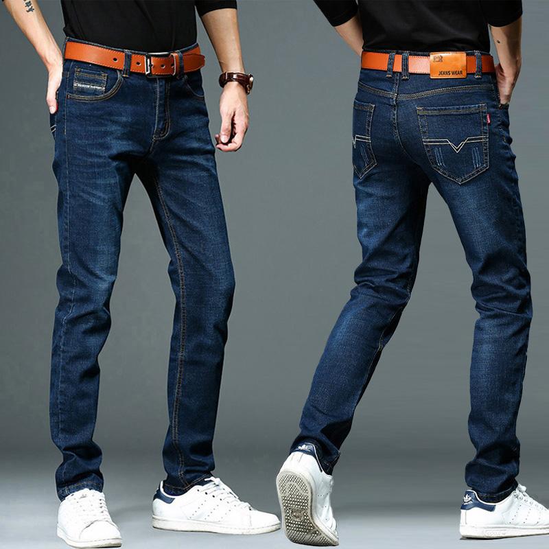 弹力裤子修身牛仔裤夏季直筒宽松休闲潮牌蓝色男士男韩版高腰薄款