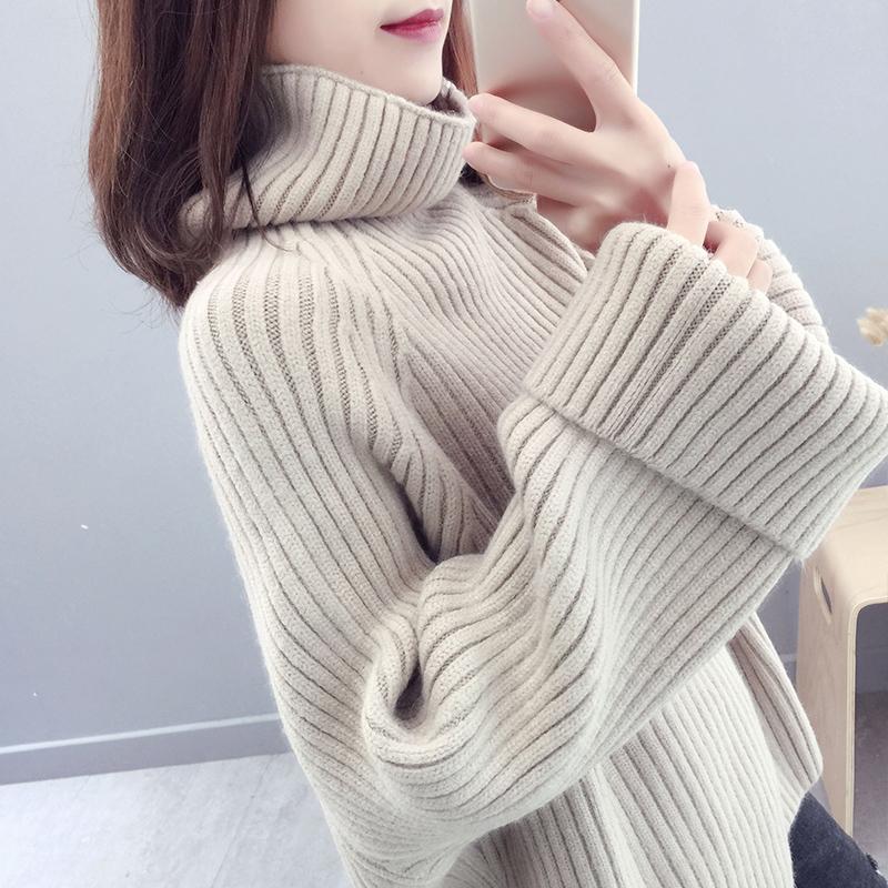 秋冬季韩版宽松套头高领加厚百搭针织衫长袖很仙的大毛衣女外套潮