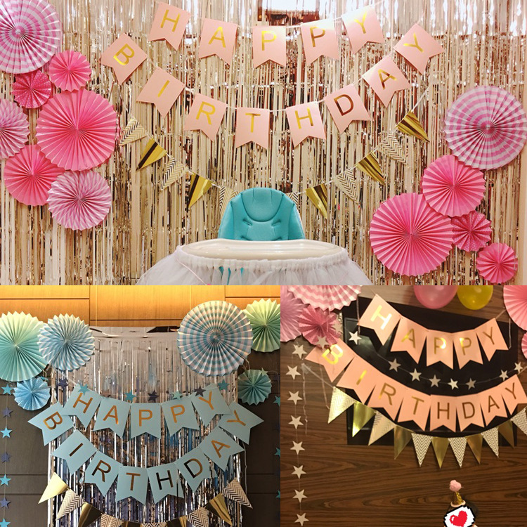 Childrens Birthday Layout Happy Banner Bronzing Bunting Lahua Party Decoration Supplies Paper Fan Flower Scene