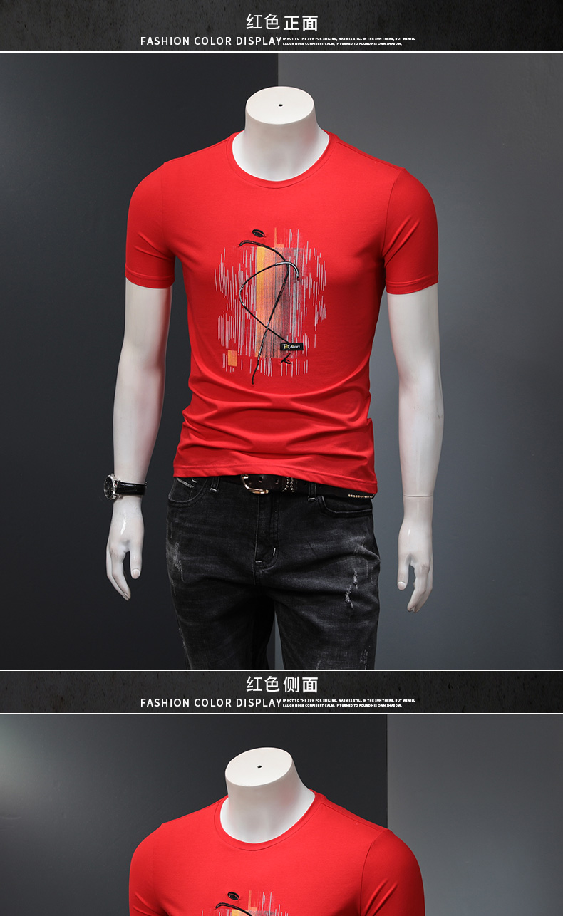 梵度春夏季莫代尔男士短袖恤修身青年印花潮流衣服黑色半袖男恤详细照片