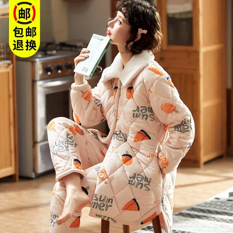 Đồ ngủ phụ nữ mùa thu và mùa đông dày ba lớp chần lông san hô ấm áp mùa đông flannel giữa chiều dài phù hợp với dịch vụ nhà - Giống cái