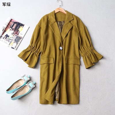 209752 Women's winter lapel single breasted nine-point trench coat