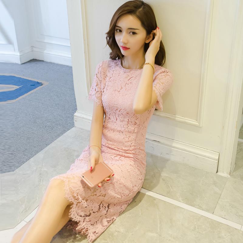 2018秋装新款名媛气质修身包臀裙短袖中长款小香风显瘦蕾丝连衣裙