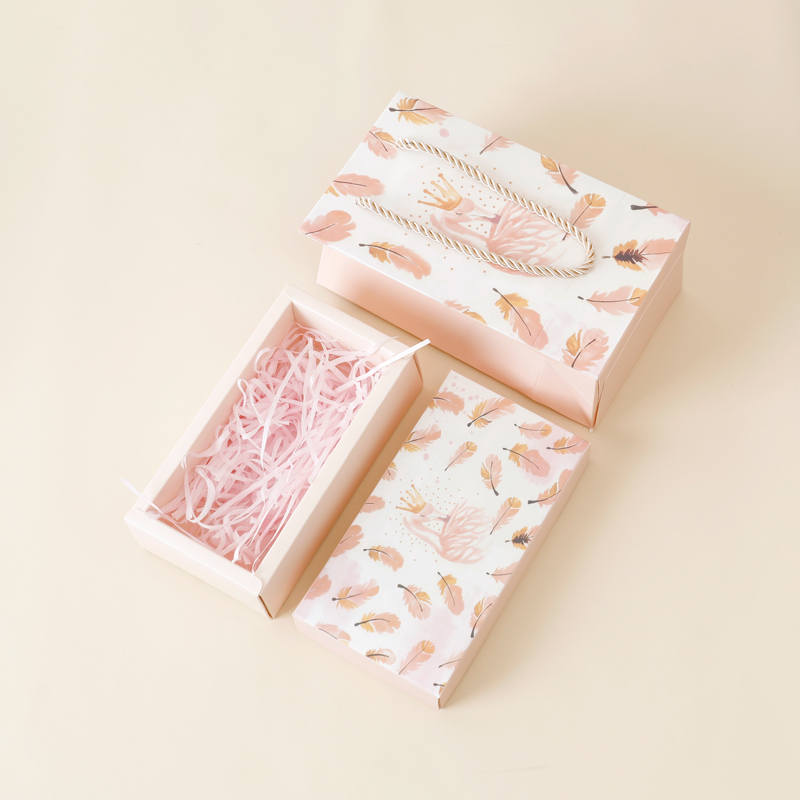Feather gift box + shredded paper + gift bag