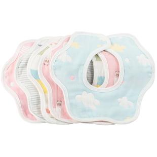 3条装婴儿可旋转纯棉6层纱布口水巾