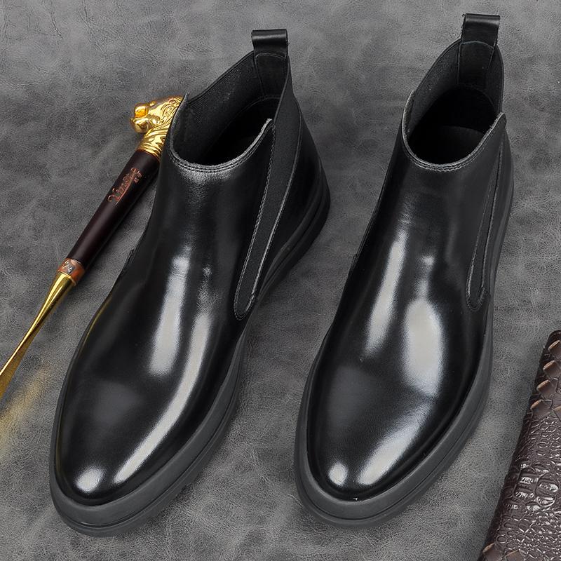 男士潮厚底切尔西靴男真皮高帮圆头英伦短靴靴子牛皮青年马丁皮鞋