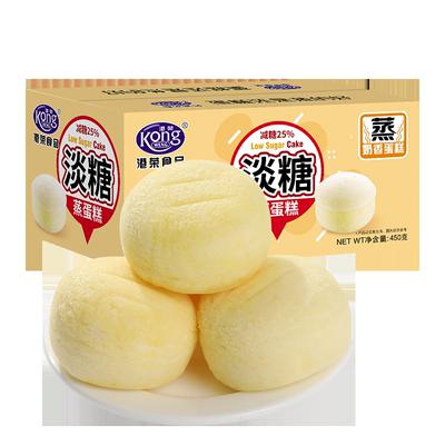 港荣蒸蛋糕老年人零食品健康孕妇淡糖低25%糖早餐软面包小吃整箱