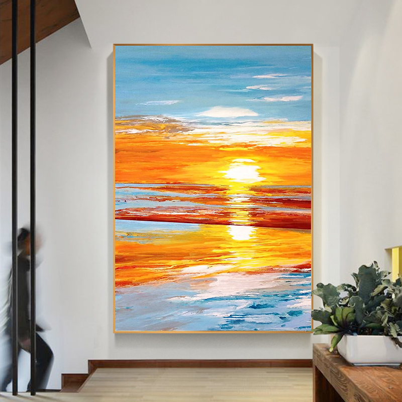 pure hand painted oil painting sunrise large size living room
