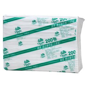 维达(Vinda)擦手纸厨房三折纸巾卫生间抽纸200抽/20包/箱