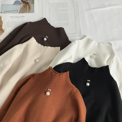 2017 autumn and winter new women's fashion pearl semi-high round knit women loose shoulder long sleeve Korean shirt