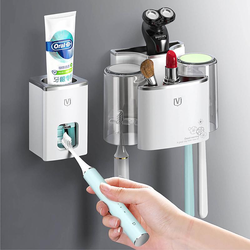 牙刷置物架免打孔壁挂式漱口杯刷牙杯卫生间收纳盒挂墙式牙具套装