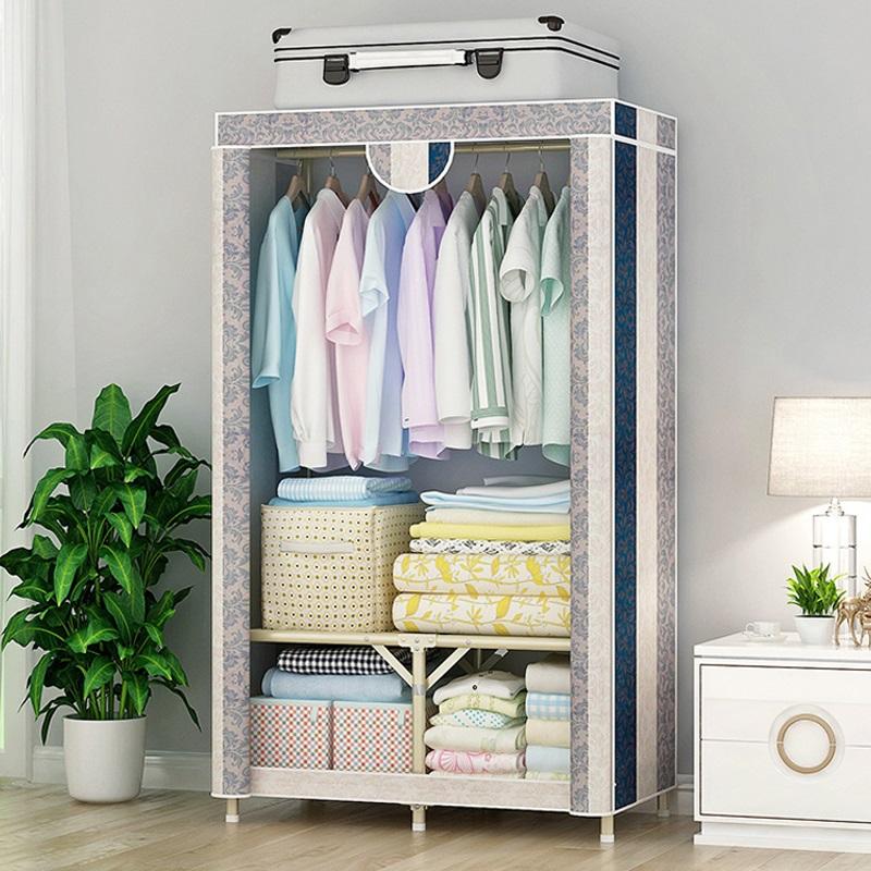 布衣柜简易家用钢管加粗加固加厚结实耐全钢架折叠牛津布艺挂衣柜