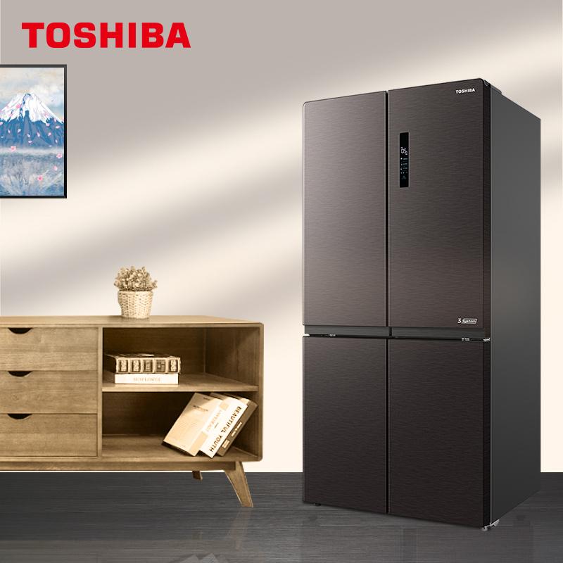 东芝646L超薄十字对开门变频一级能效风冷无霜家用电冰箱RF678WE