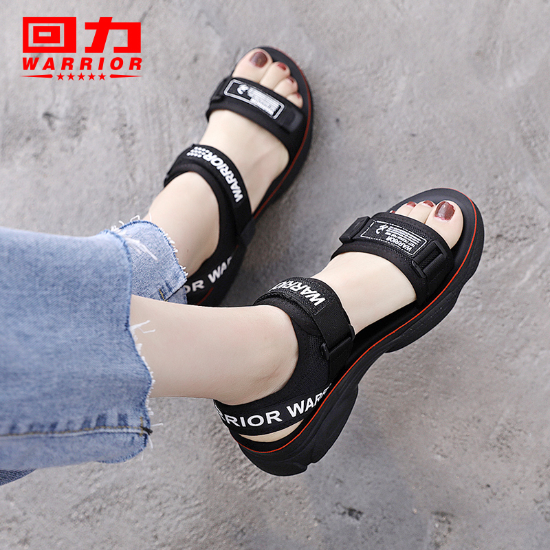 Pull back sandals female 2019 summer new wild student Fairy Wind flat sports thick bottom fashion ladies shoes