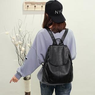 真皮软皮包包2018新款韩版双肩包女时尚休闲旅行百搭大容量背包潮美丽说官网
