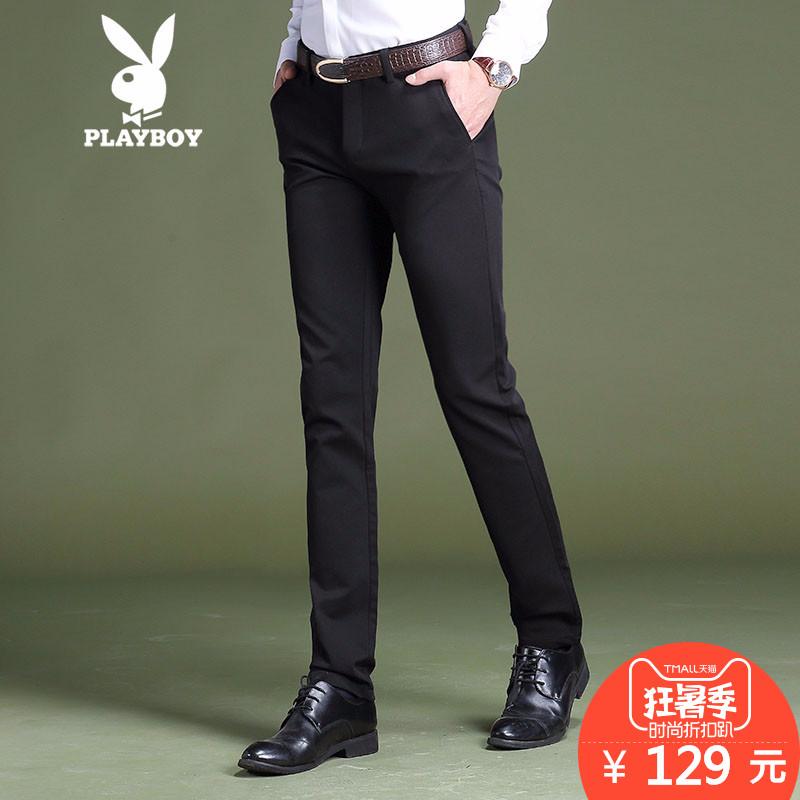 Playboy quần âu nam mùa hè căng Hàn Quốc phiên bản của xu hướng của bàn chân nhỏ quần quần mới quần nam Mỏng