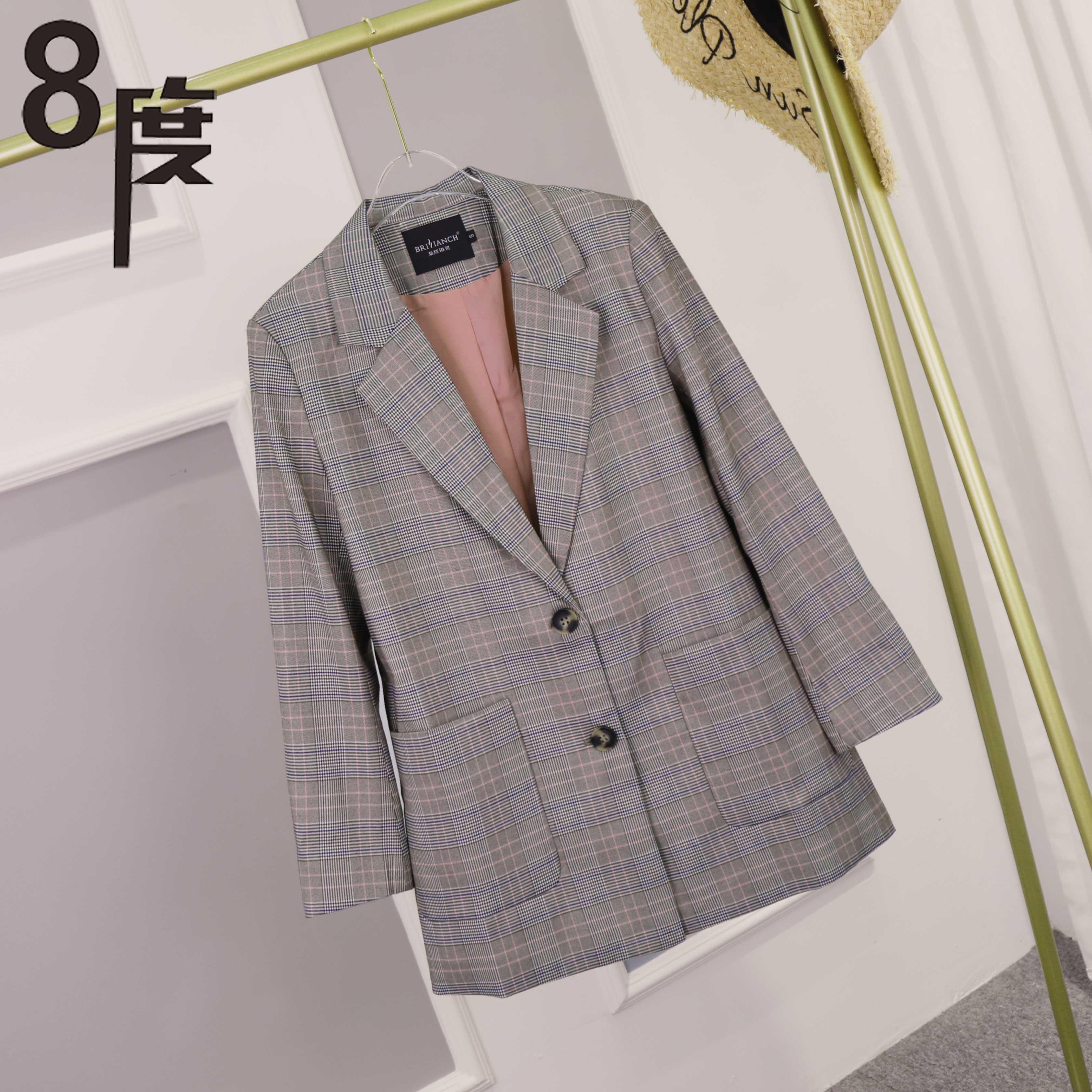 【8度】秋装新款韩版格纹小西服XIXI7789