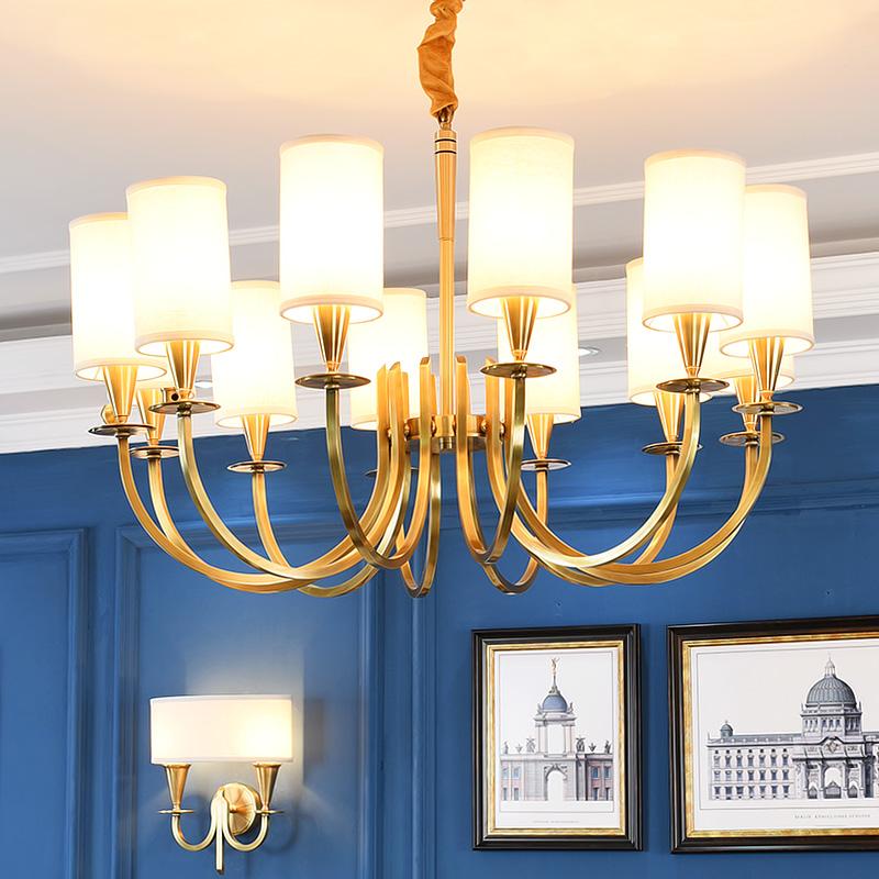 美式全銅吊燈大氣客廳燈餐廳燈簡約書房臥室創意個性藝術全銅燈具