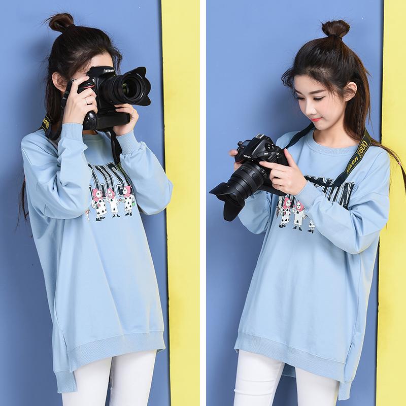 Беременная женщина T футболки с длинными рукавами чистый хлопок свитер весенний и осенний сбор. корейская мода издание длинная модель платье свободные большой размеров длинный рукав ширина