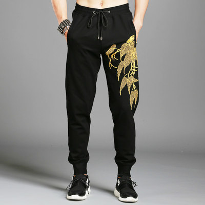 Spring and Autumn China Wind Embroidery Pants Male Summer Pattern Slim Youth Leisure Pants Men's Thin Fashion Flower Pants