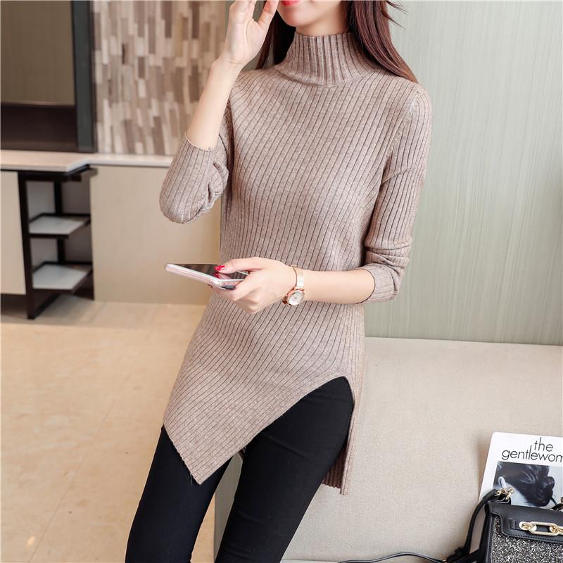 秋冬新款纯色半高领针织衫不规则下摆开叉打底衫毛衣女中长款上衣