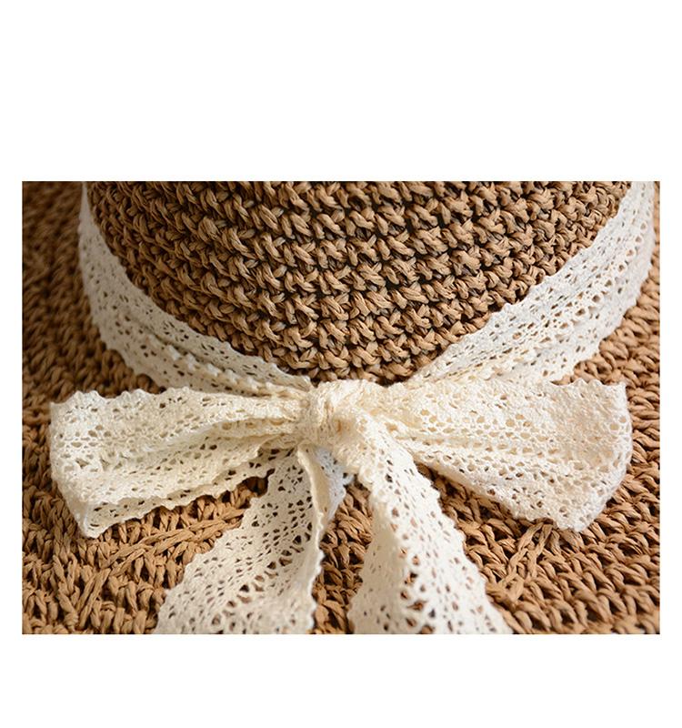 Sombrero de paja de encaje tejido a mano, arco de encaje femenino, protección solar, visera, sombrero de playa grande plegable NHHY176276