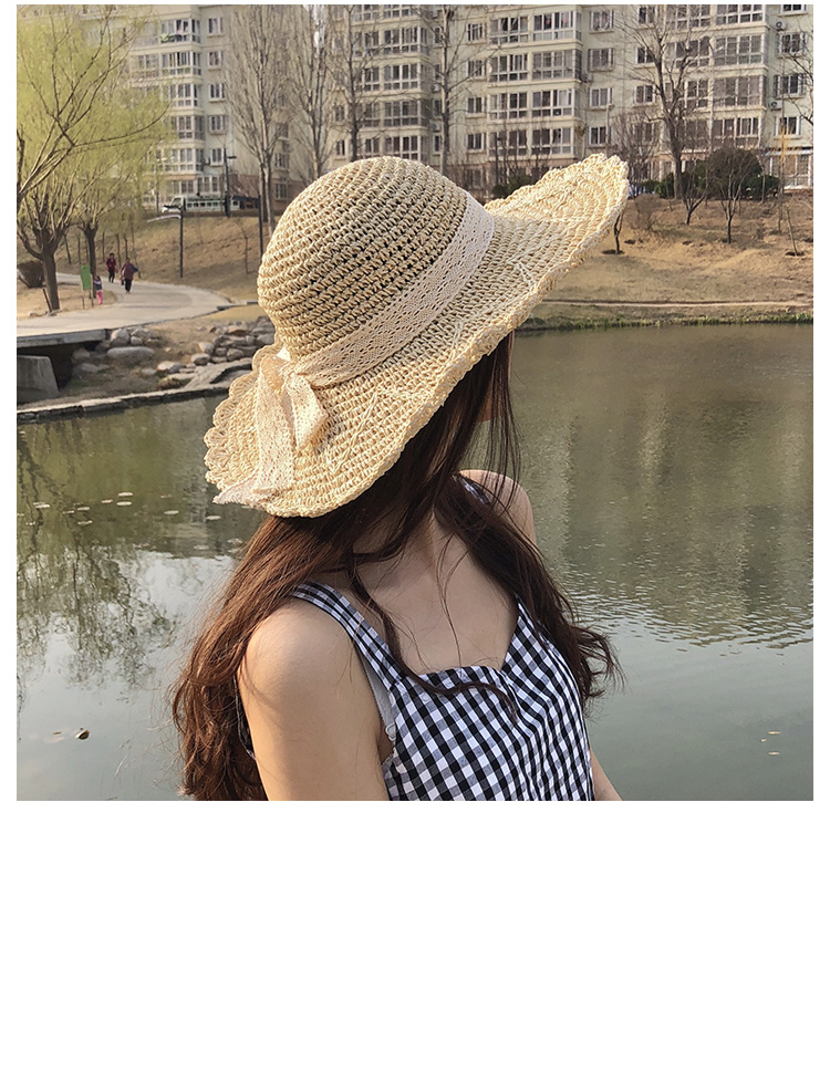 Hand-woven lace straw hat female lace bow sun protection sun visor foldable big beach hat NHHY176276