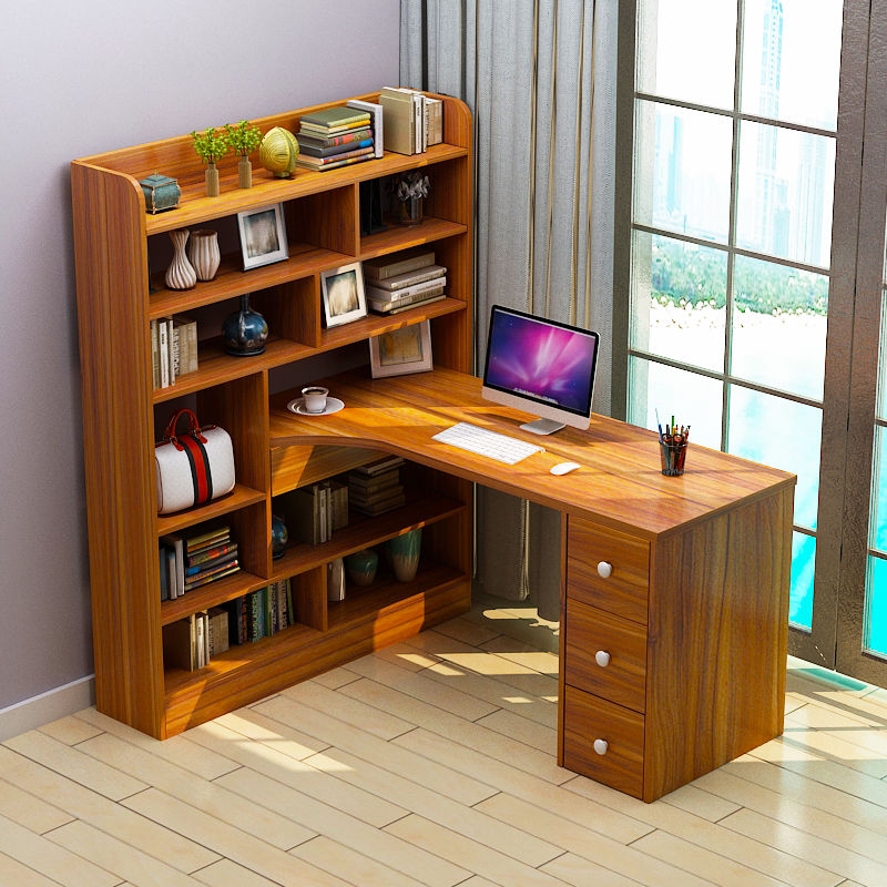 Computer desktop table simple desk bookshelf combination simple home bedroom table student writing desk bookcase as a whole