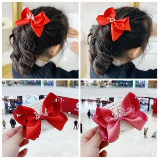 Children's hair accessories red female baby bowknot rubber band girl cute hairpin little girl hair circle clip