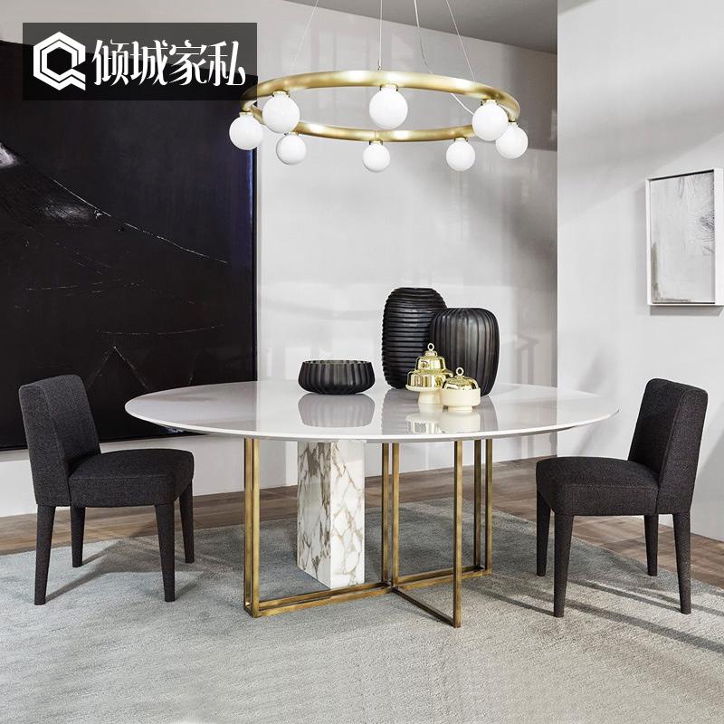 Мрамор обеденный стол круглый стол простой современный дизайнер круглый обеденный стол стул сочетание нержавеющей стали домой рис стол