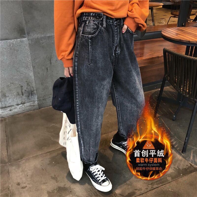 加绒牛仔裤女秋冬2018新款大码哈伦裤女宽松怪味少女裤高腰老爹裤