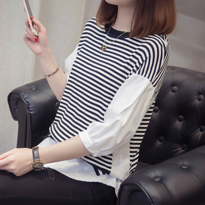 Spring 2021 new female loose ice silk knit sweater thin section striped short foreign shadress shirt fake two-piece set