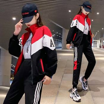 Female sportswear suit 2020 spring and autumn influx of hip-hop brand ins handsome fashion casual loose two-piece