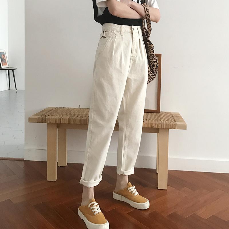 牛仔裤女2019春季新款米白直筒网红老爹裤阔腿高腰韩版显瘦百搭裤