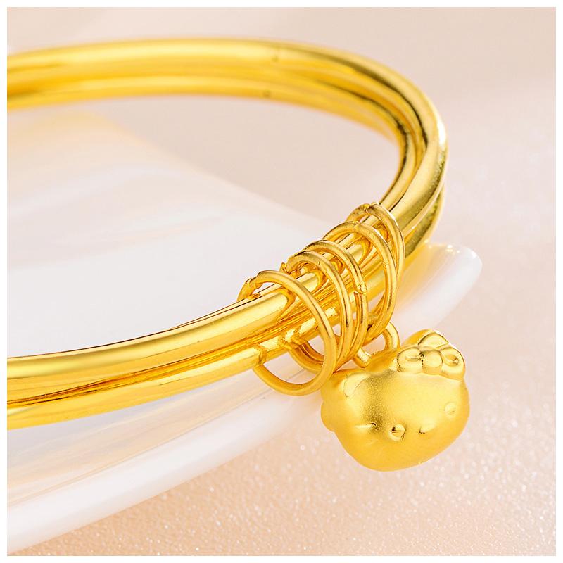 19a342e63b6e1 Tiko Fashion KT Cat Foot Gold Bracelet Three Rings Female Hard Gold  Creative Birthday Gift Girlfriend Hand Jewelry