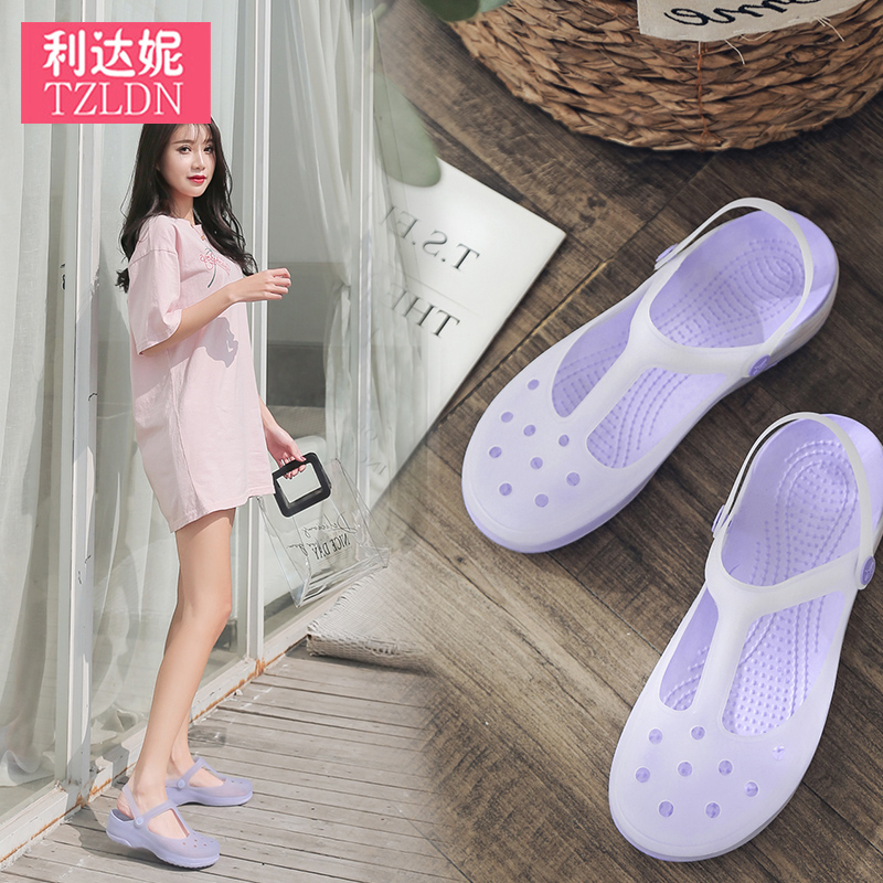 Rain boots women's fashion cute net red hole shoes non-slip ladies low to help shallow mouth shoes transparent women summer wear