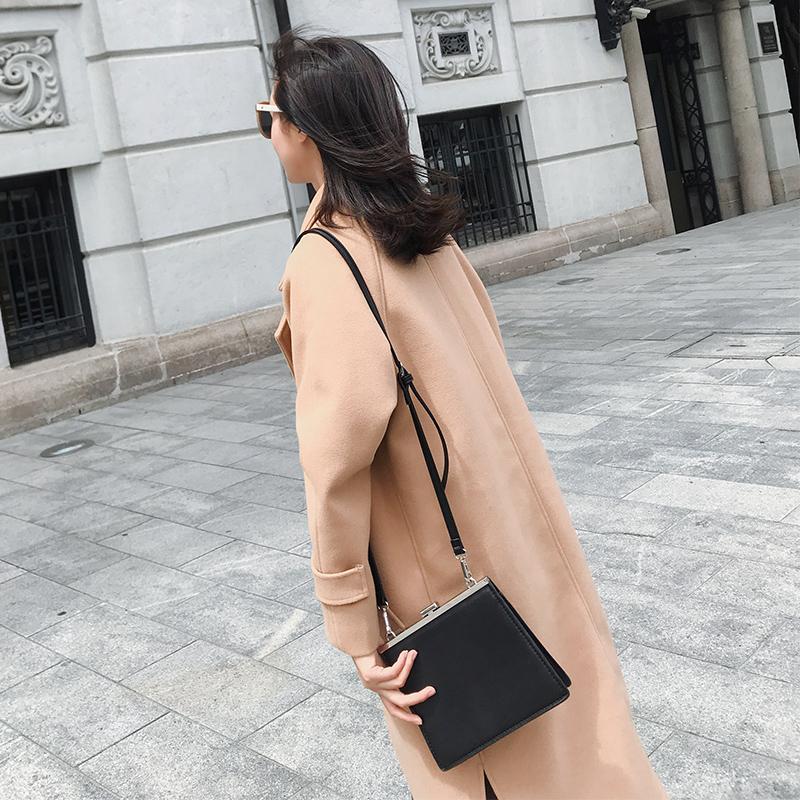 2019呢子新款秋冬粉色女韩森系流行深秋女式外套中长款毛呢大衣冬