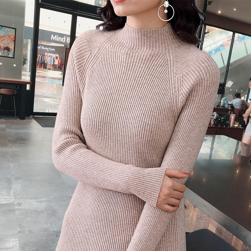 2018新款毛衣女中长款韩版修身长袖半高领长袖套头黑色紧身打底衫