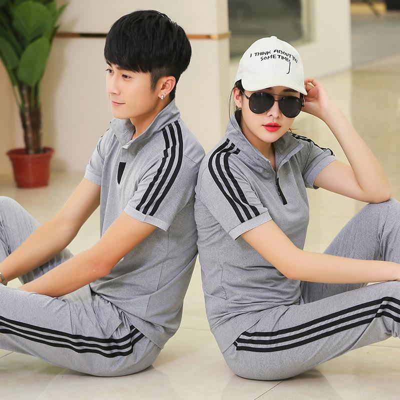 夏季运动服套装男短袖T恤长裤女情侣运动服装夏天跑步休闲衣服