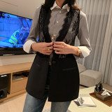 Special! Clear! Lace black small vest women's new style Western style stitching outer fashion vest short jacket